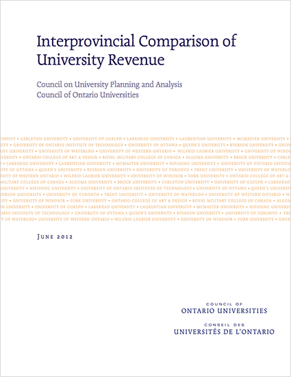 Interprovincial Comparison of University Revenue