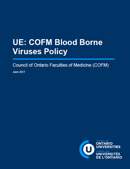 Screenshot of report cover to the blood borne virus policy