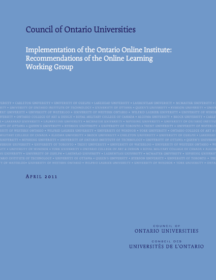 Ontario Online Institute:  Recommendations of the Online Learning  Working Group