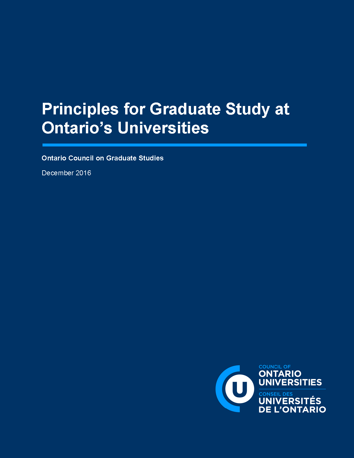 Report cover for the principles for graduate study at Ontario's Universities position paper