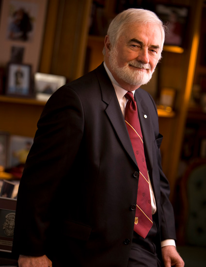 Photo of Peter George in his office at McMaster University