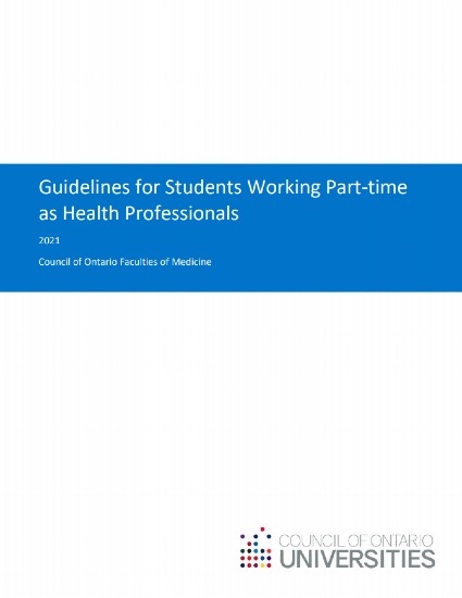 Guidelines for Students Working Part-time as Health Professionals